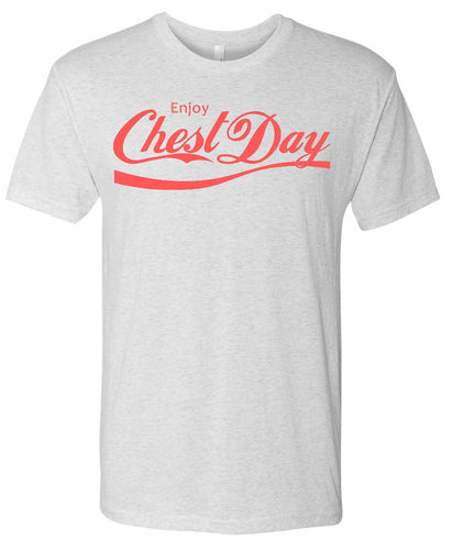 Enjoy Chest Day Tri-Blend T-Shirt in Heather White