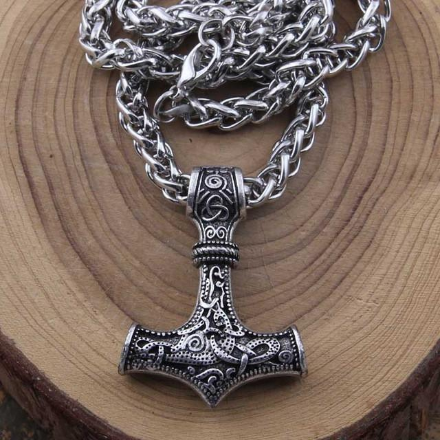 Thors hammer pendant with keel chain necklace bavipower thors hammer pendant with keel chain necklace mozeypictures Gallery