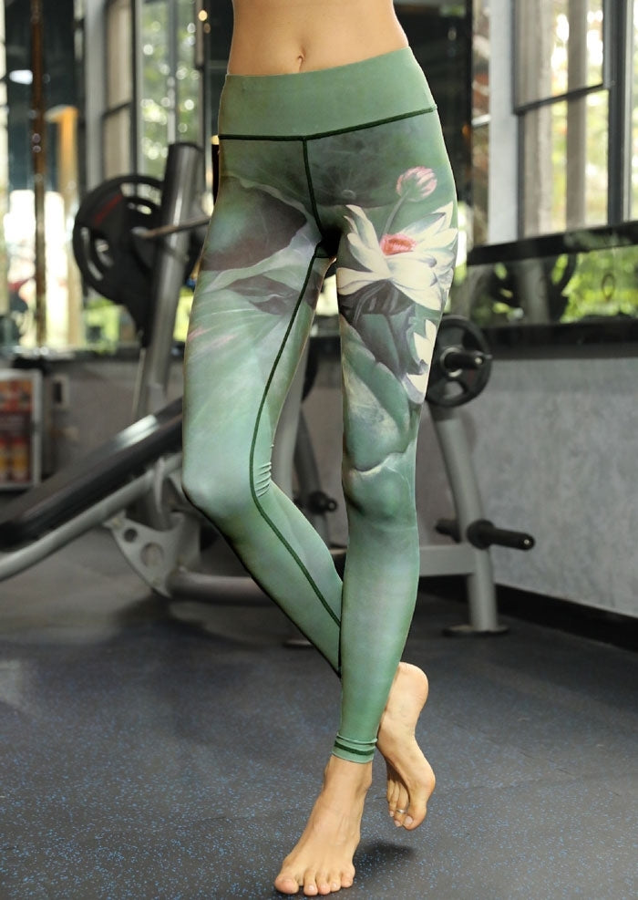 81023ea81c SUPTA Green Lotus LEGGINGS - YanOne