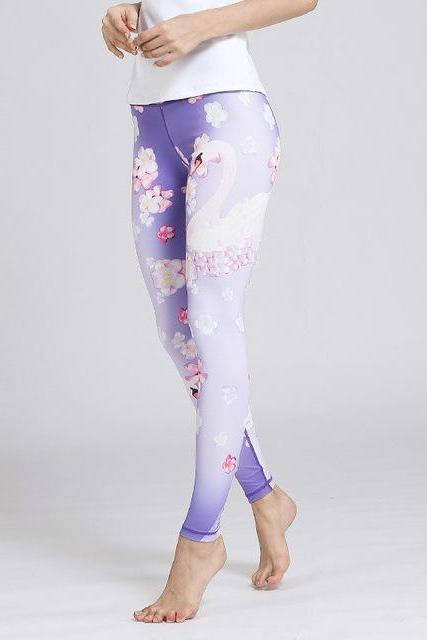 7e512a922e CHATURANGA Swan purple LEGGINGS - YanOne