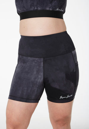 Gym Secrets Tie Dye Black Bike Shorts