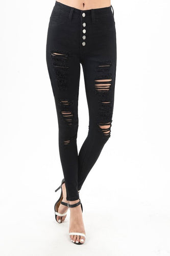 Truth or Dare Black Skinny Jeans - Distressed