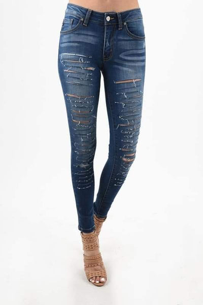 KanCan Skinny Stretch - Distressed Dark Wash