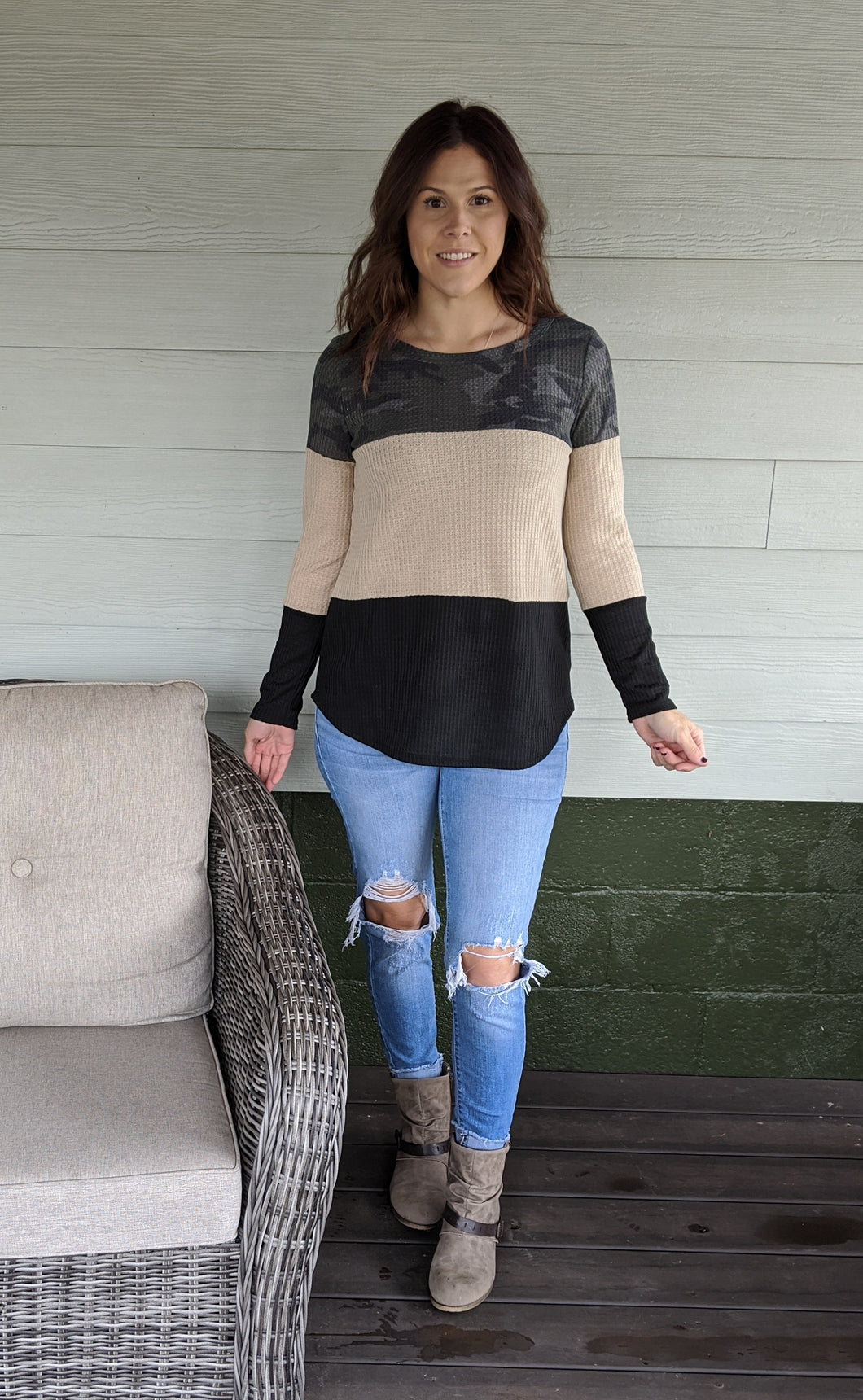 When It Happens Camo Color Block Top