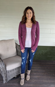 Simple As That Cardigan - Eggplant