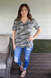 Never Say Goodbye Camo Top - Olive