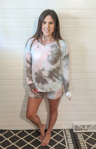 Candied Tie Dye Loungewear ~ BOTTOMS ONLY ~ Olive/Pink