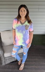 Be A Light Tie Dye & Print Top ~ Curvy