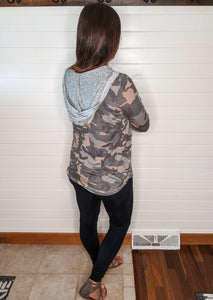 Slow & Steady Camo Hoodie Top