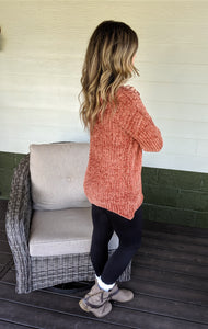 On Cloud Nine Chenille Sweater - Rust