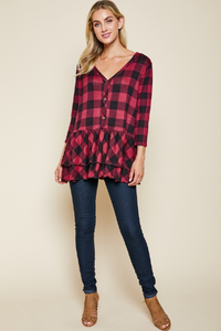 Now Or Never Plaid Top