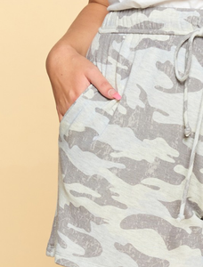 Ready For Anything Camo Grey Shorts - Curvy