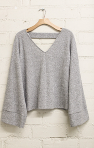 Keep It Light Solid Knit Sweater ~ Grey