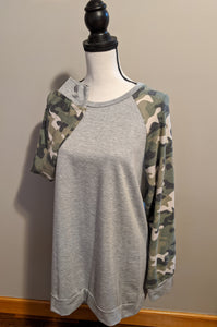 Patiently Waiting Camo Top - Curvy