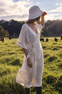 The Robe Dress - Hand-woven khadi in cream raw silk and linen grid.