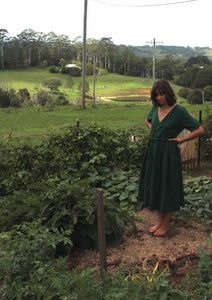 Fluidity Dresses - Pine green hemp/cotton.