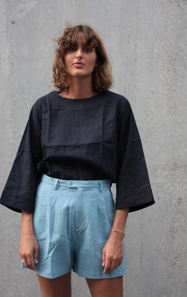 The Painters Blouse - navy hemp/cotton.
