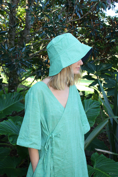The Robe Dress - Hand-woven khadi in tennis green grid.