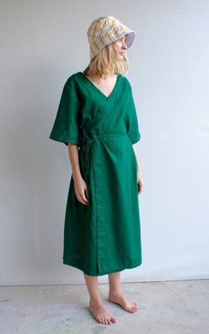 The Robe Dress - hemp and cotton, hand dyed in pine green.