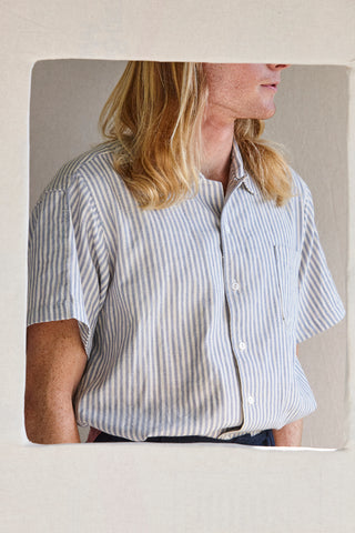 The human shirt - cotton khadi in Beach stripe.