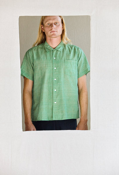 The human shirt - Tennis green grid in silk/linen blends of hand-woven khadi