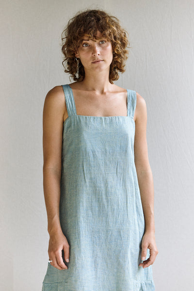 The Pina Dress - silk/linen khadi in blue grid.