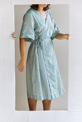 The Robe Dress - blue grid hand-woven silk khadi.