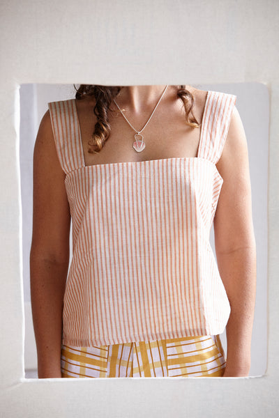 The Box Cami - pink and guava stripe cotton hand-woven khadi.