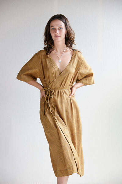 The Robe Dress - molasses hand-woven silk khadi.