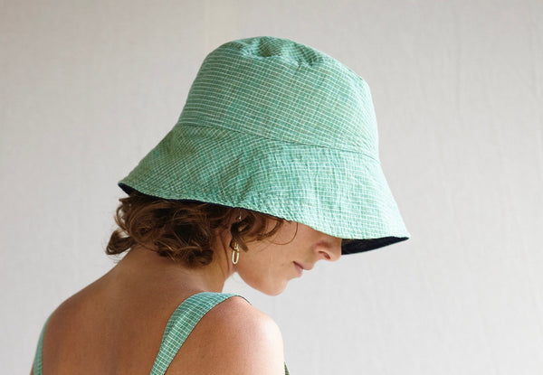 A Hat for a Head - various hand-woven khadi fabrics and yellow organic cotton.