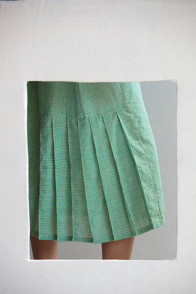 The Pina Dress - silk/linen khadi in tennis green.