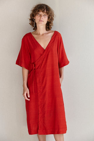 The Robe Dress - Hand-woven khadi in crimson silk.