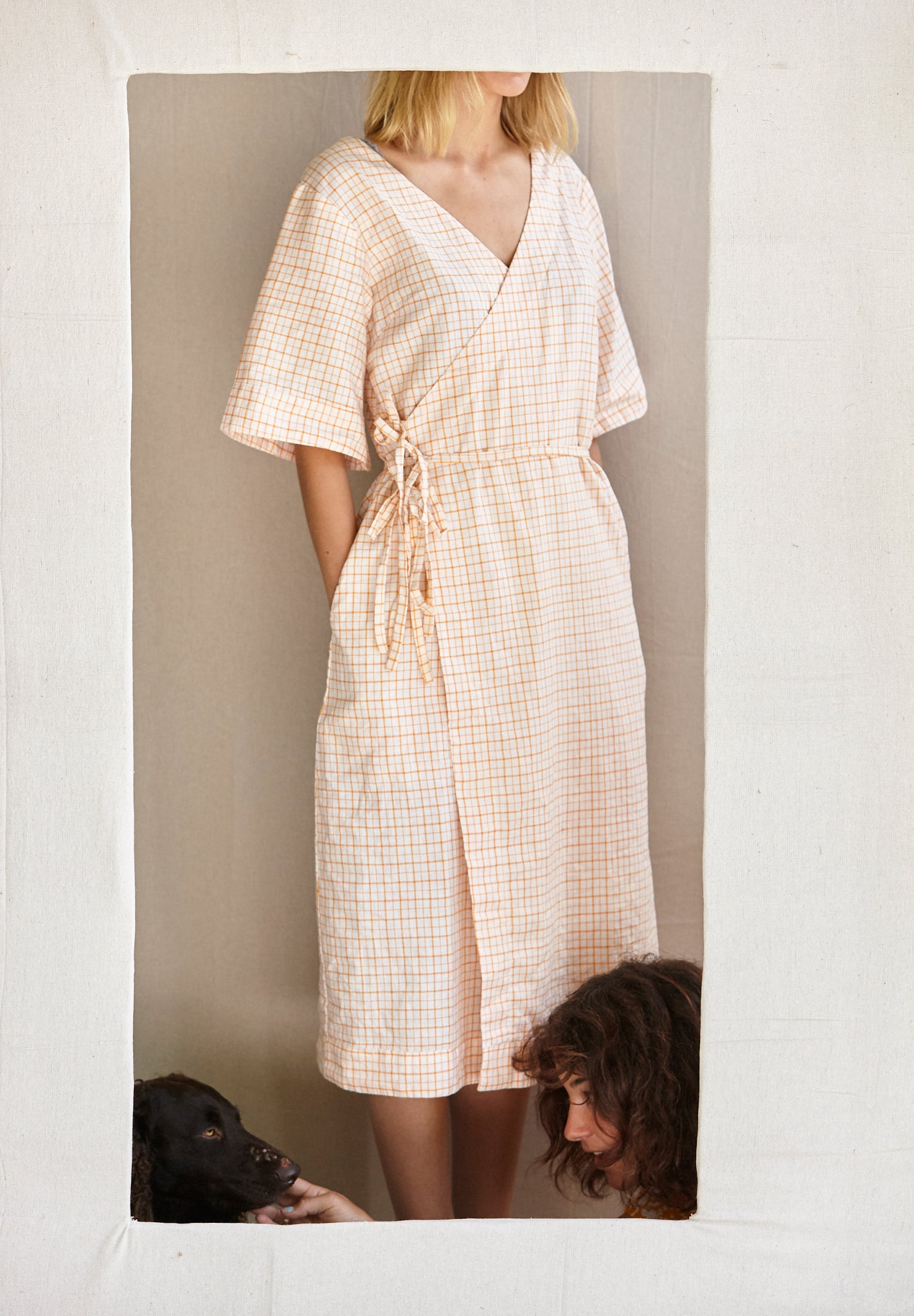 The Robe Dress - white with orange grid in hand-woven khadi.