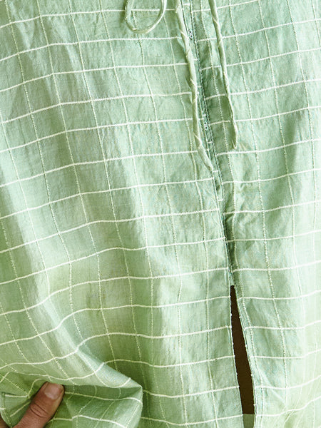 The Painters Blouse - celery silk with  raw linen check in hand-woven khadi.