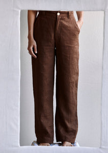 The Trousers for Legs - linen in chocolate.