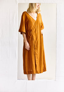 The Robe Dress - Hand-woven khadi in tobacco Silk.