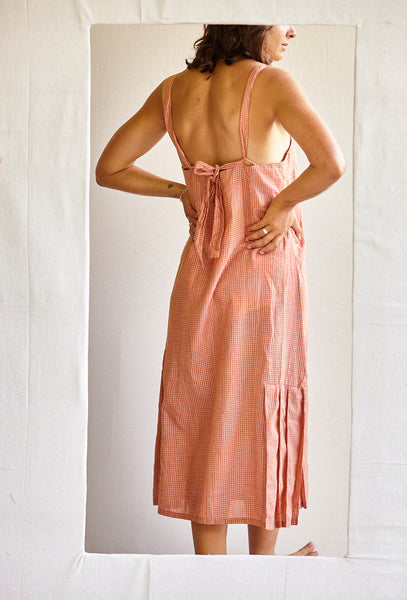 The Pina Dress - silk/linen khadi in Pink grid.