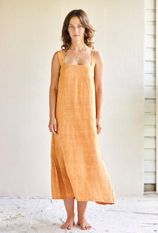 The Pina Dress - hand woven khadi in Apricot silk.