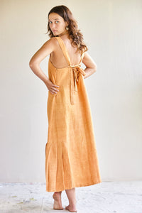 The Pina Dress - hand woven khadi in tobacco or apricot silk.