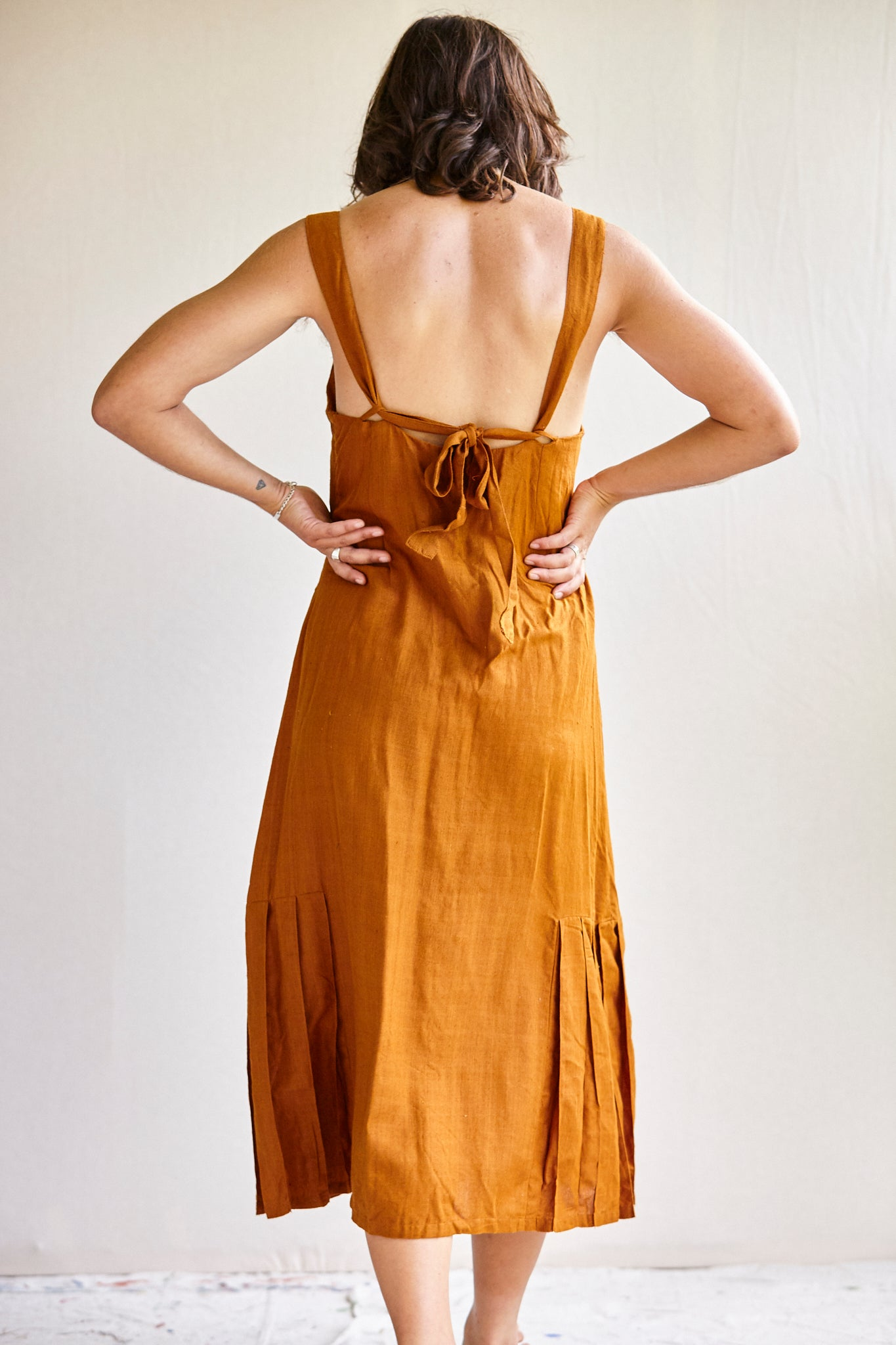The Pina Dress - hand woven khadi in Tobacco