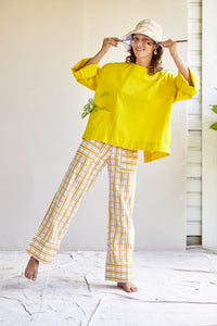 The cuff pants - printed check in handwoven khadi.
