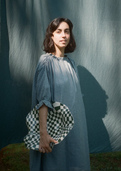 The cloud dress in Hemp: Blue check.