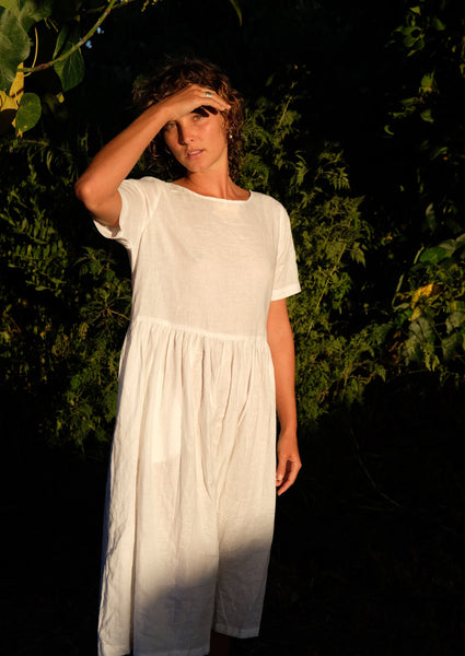 Fluidity Dress- White hemp/cotton.
