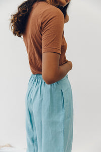 The Agnes slacks - heavy weight linen in cornflower blue.