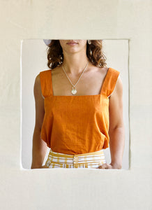 The Box Cami - orange silk hand-woven khadi.