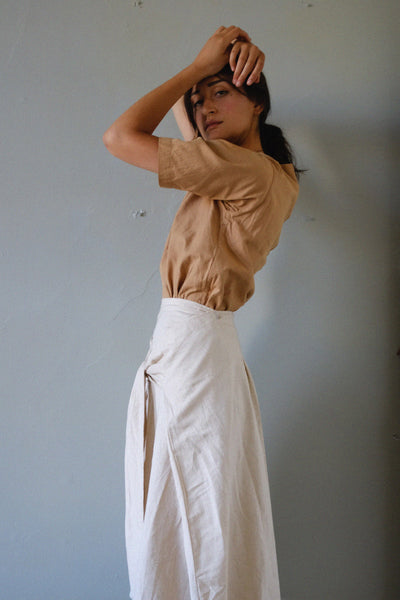 the parcel skirt in oatmeal side