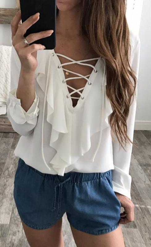 All Ruffled - Lace up blouse