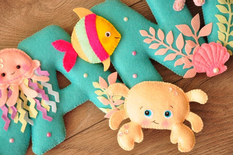 Under the sea creatures and little mermaid, Felt Name Banner