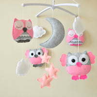Owl Mobile ; Pink and Gray
