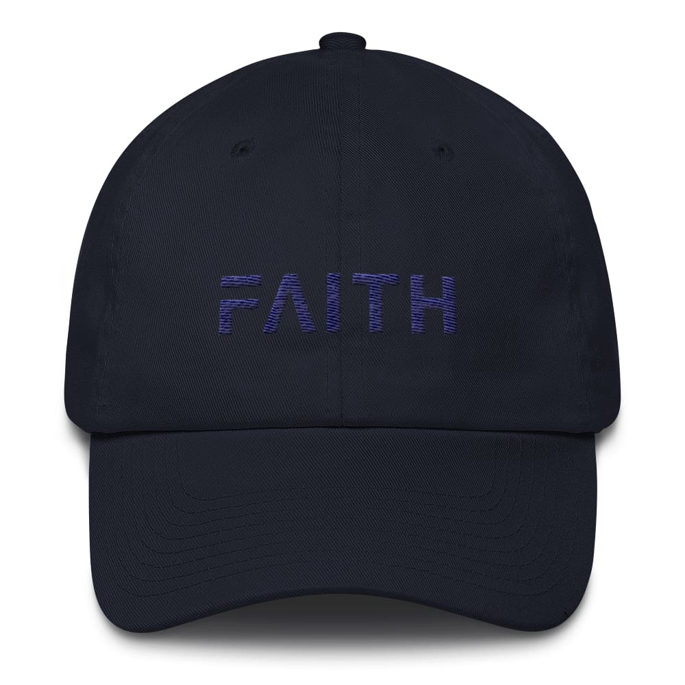 Load image into Gallery viewer, Adjustable Faith Christian Baseball Hat - One-size / Navy - Hats